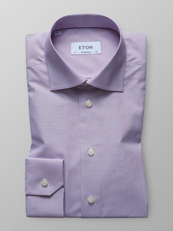 Purple Fine Check Twill Shirt