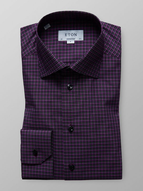 Purple Check Twill Shirt