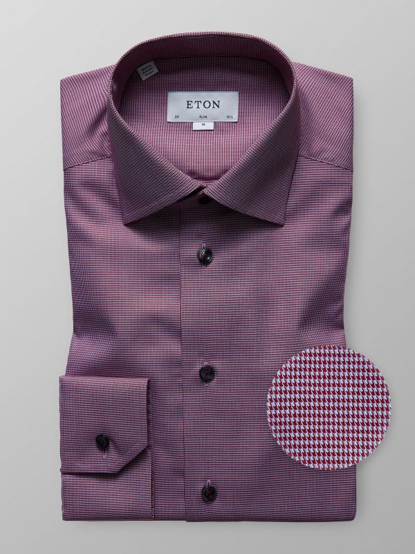 Red Houndstooth Twill Shirt