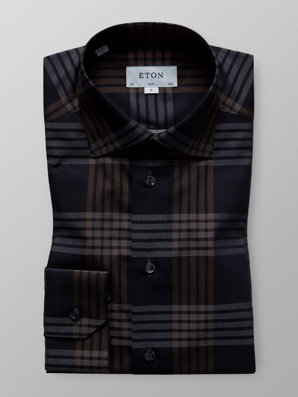 Brown & Black Check Shirt