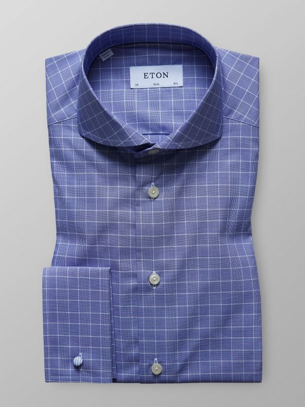 Blue Check French Cuff Shirt