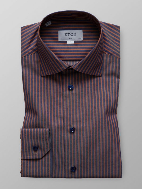 Brown Striped Twill Shirt