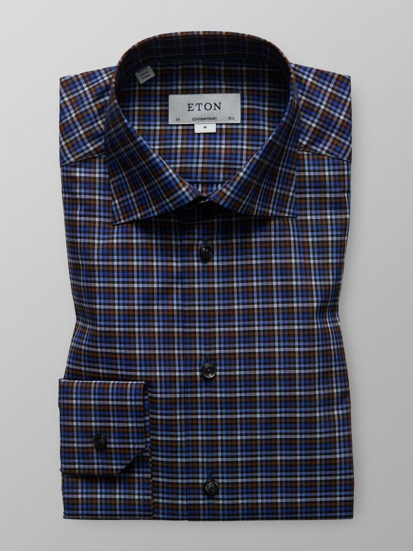 Brown & Blue Check Twill Shirt