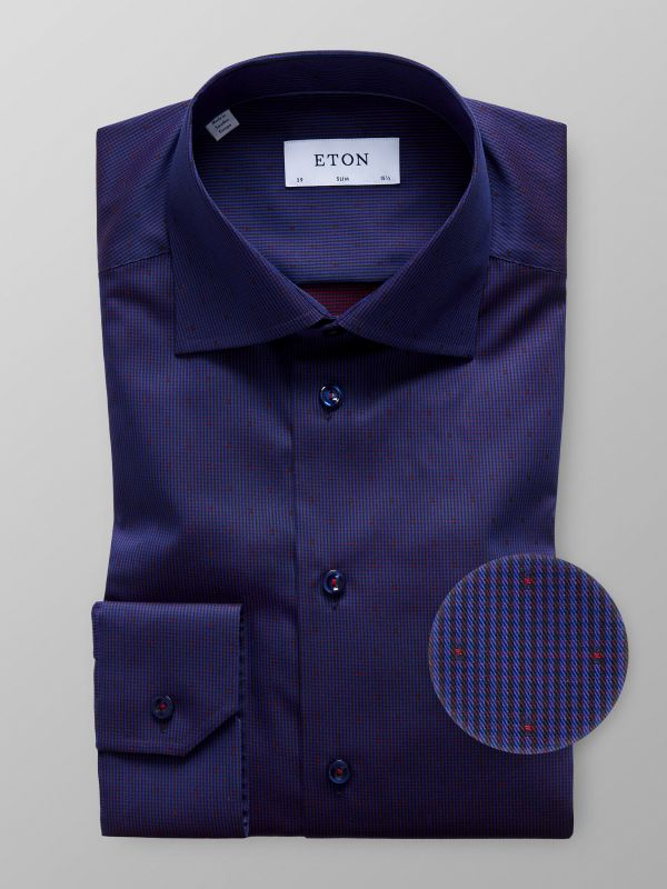 Navy Geometrical Shirt With Trim Details