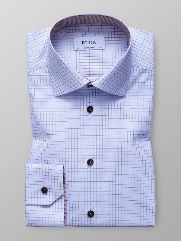 Blue Check Twill Shirt