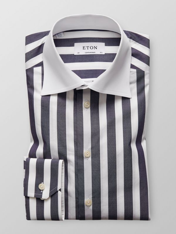 Bold Striped Contrast Collar Shirt