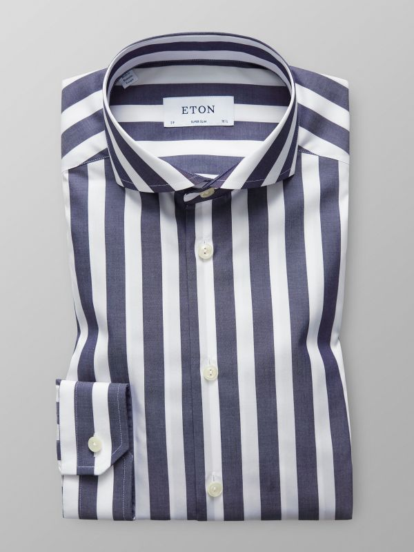 Dark Blue Bold Striped Shirt