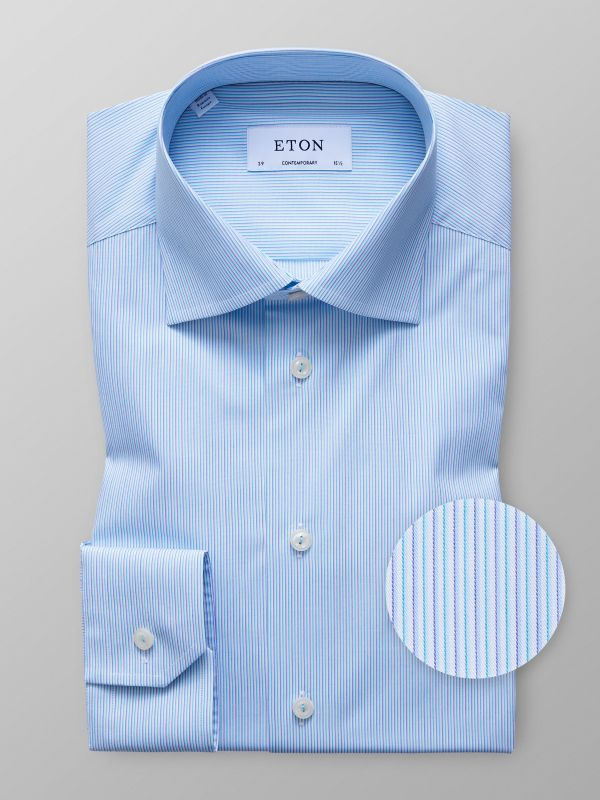 Blue Striped Twill Shirt