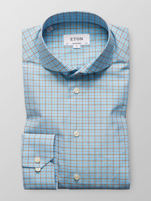 Brown & Blue Checked Shirt