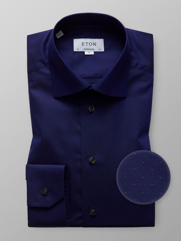 Navy Dotted Twill Shirt