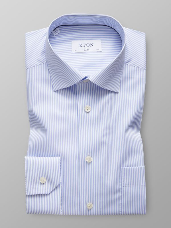 Sky Blue Striped Stretch Shirt