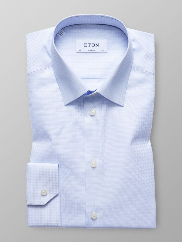 Light Blue Woven Dots Shirt