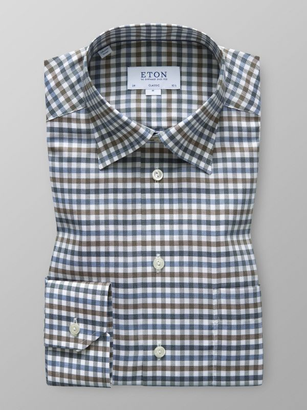 Navy & Brown Check Flannel Shirt