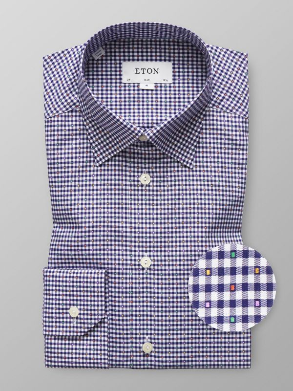 Navy Check Fil Coupé Shirt
