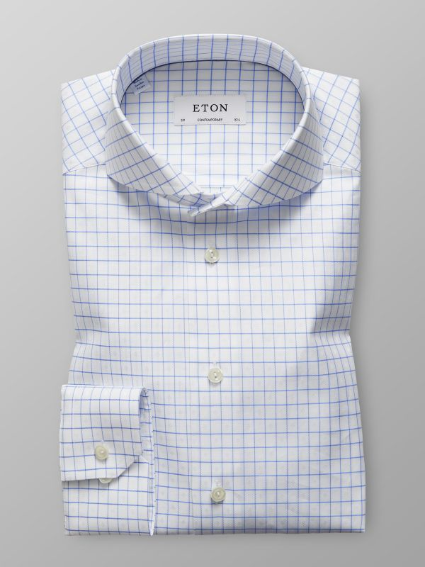 Light Blue & White Check Shirt