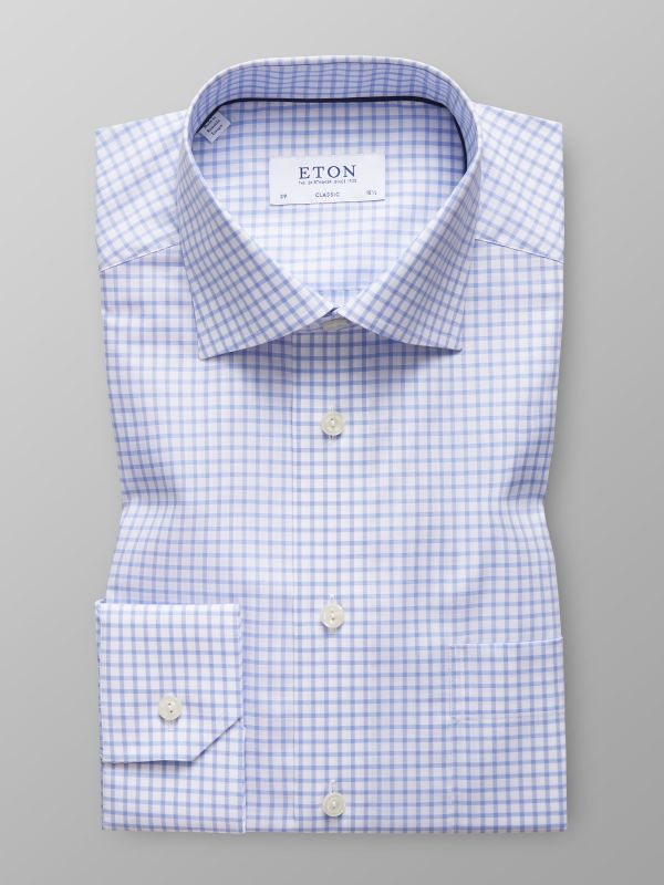 Sky Blue Check Stretch Shirt