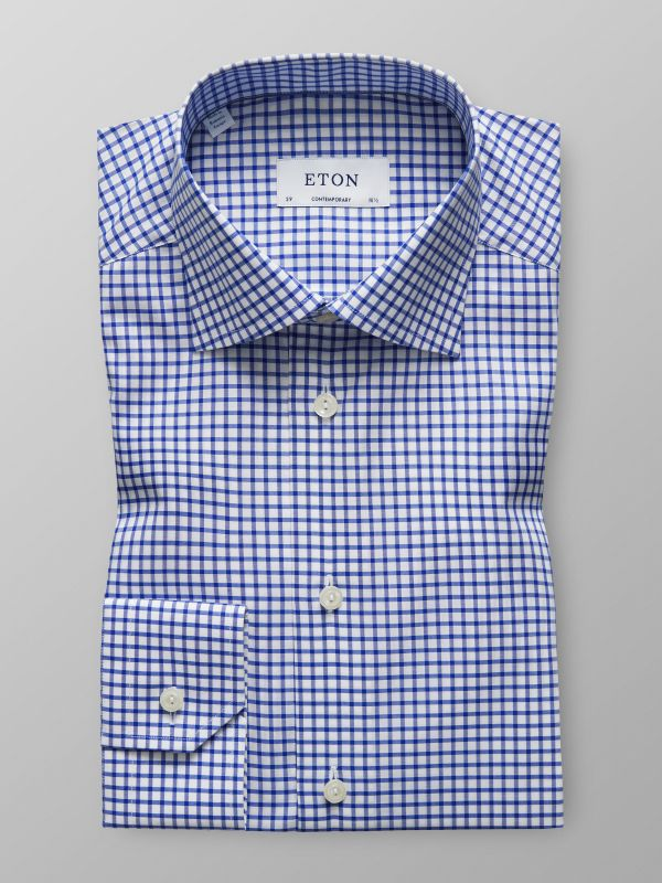 Blue & White Check Stretch Shirt