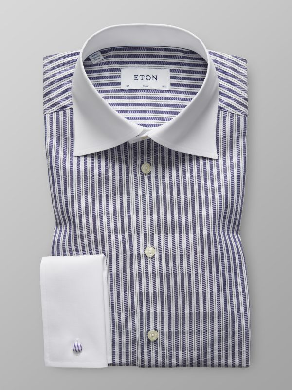 Bold Striped White Collar Shirt