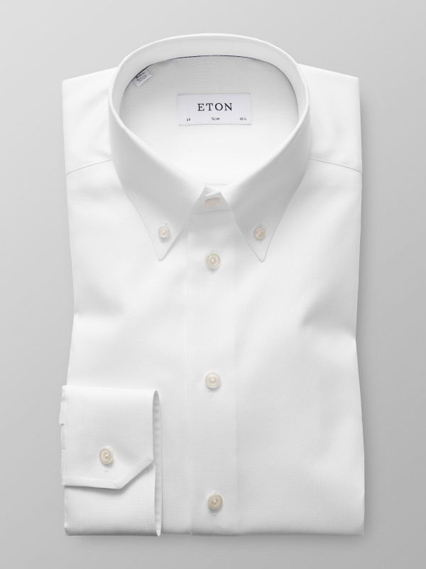 White Pinpoint Oxford Shirt - Slim fit | Eton Shirts US