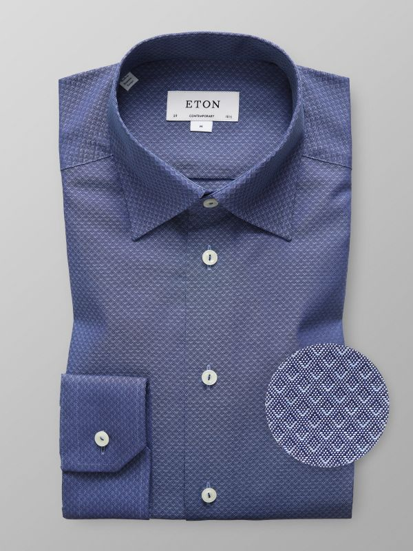 Navy Pinpoint Button-Under Shirt