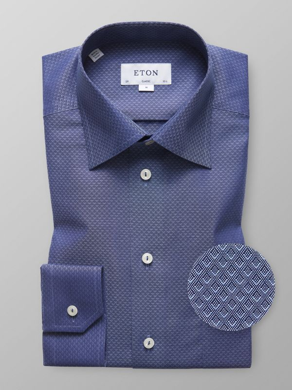 Navy Pinpoint Geometric Shirt