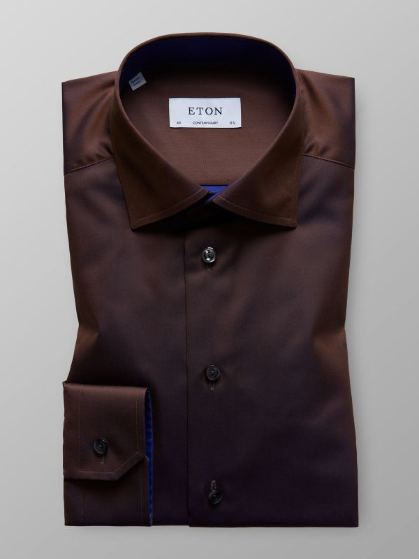 Brown Twill Shirt With Contrast Trim