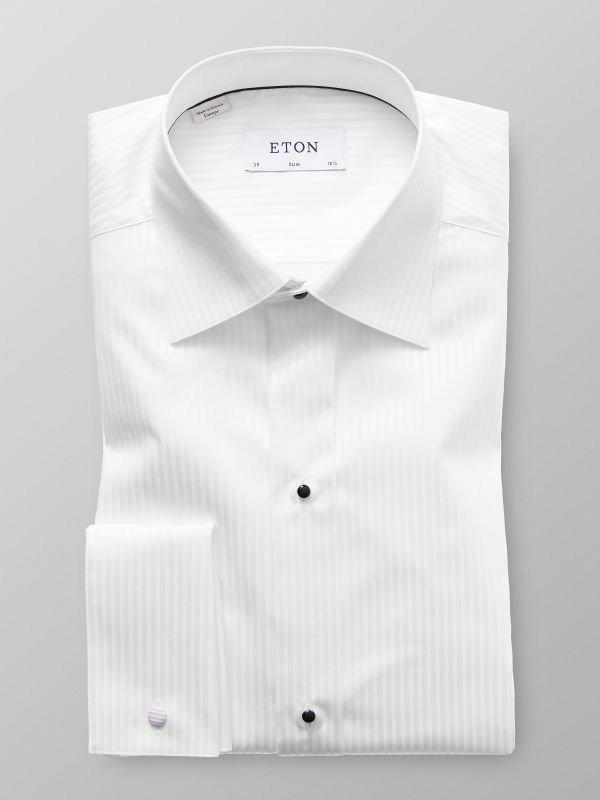 White Satin Striped Evening Shirt