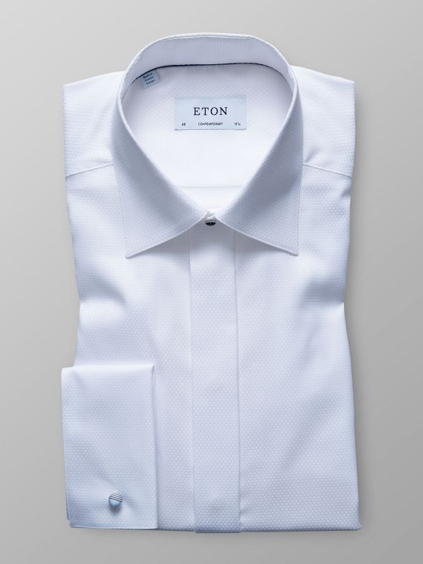 White Geometrical Evening Shirt