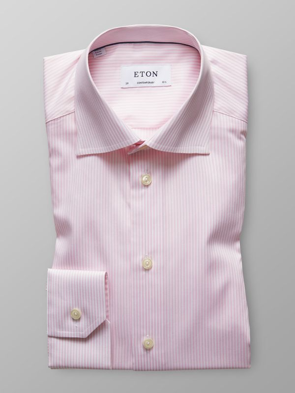 Pink & White Striped Twill Shirt