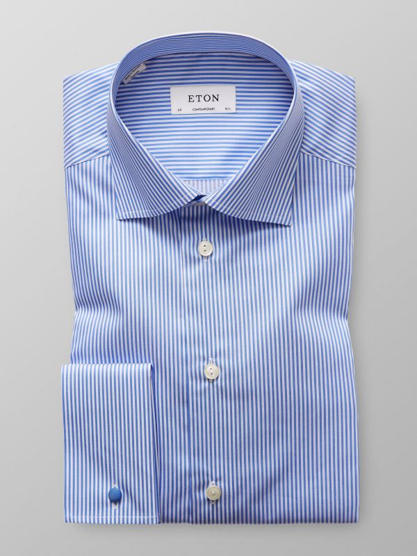 Blue Striped French Cuff Shirt