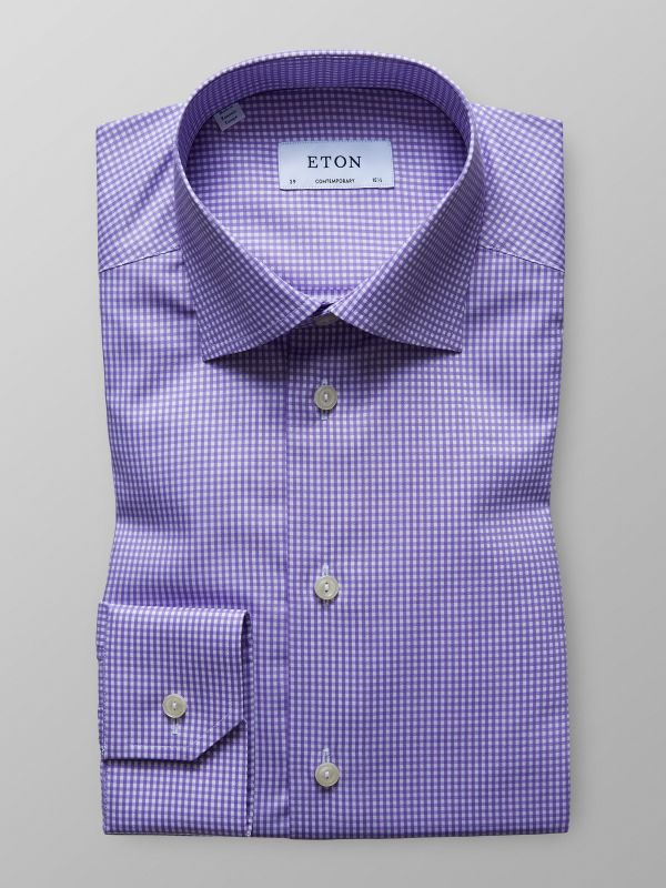 Purple & White Check Shirt