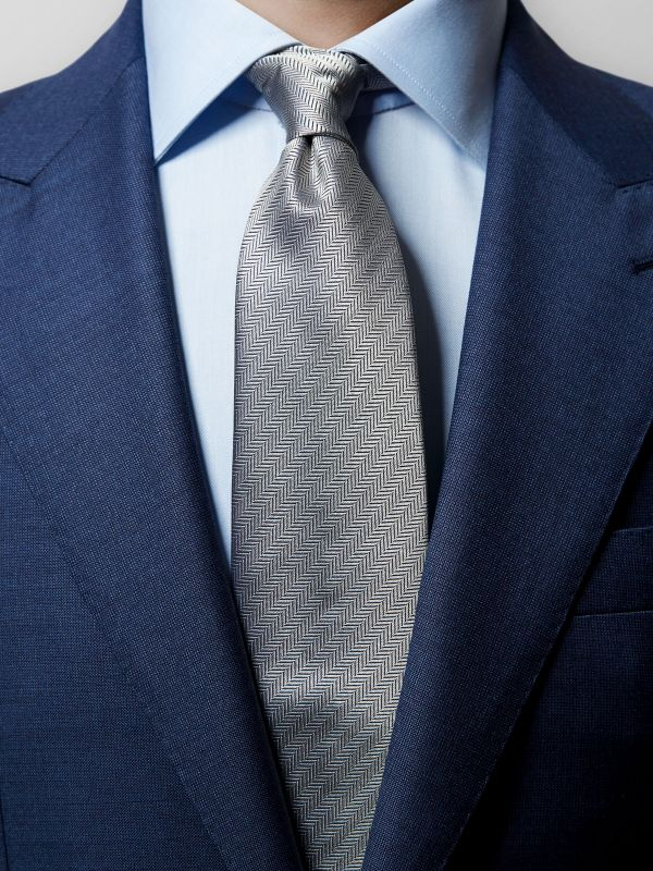 Grey Herringbone Silk Tie