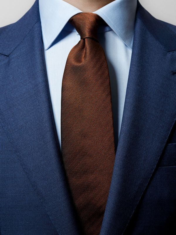 Brown Herringbone Silk Tie