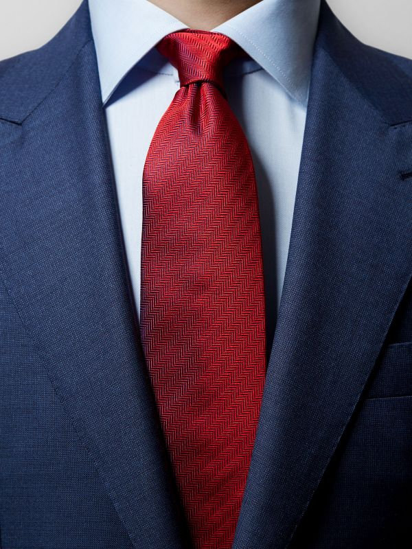Red Herringbone Silk Tie