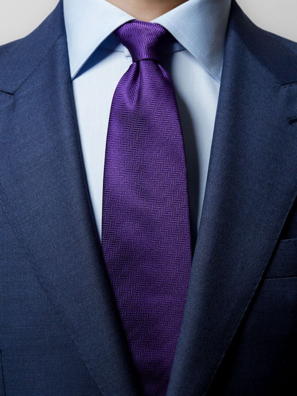 Purple Herringbone Silk Tie