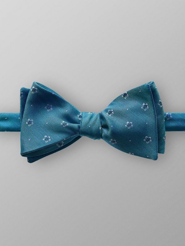 Turquoise Floral Silk Bow Tie