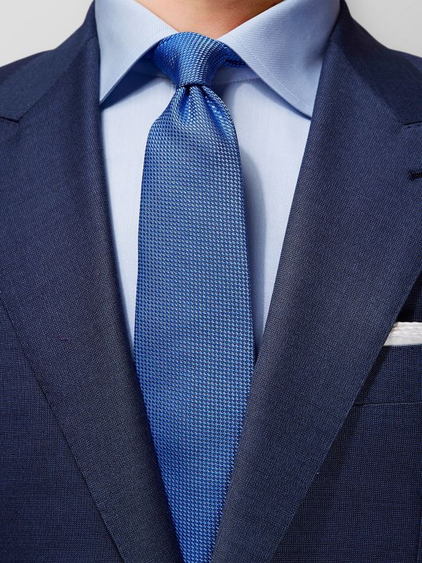 Blue Basketweave Silk Tie