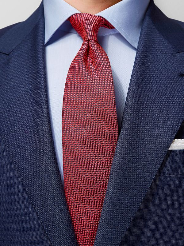 Red Basketweave Silk Tie