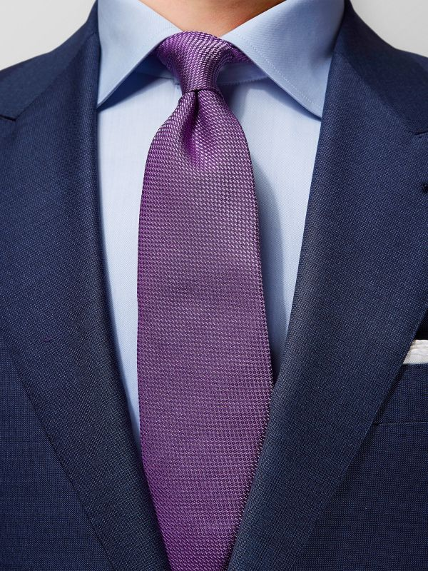 Purple Basketweave Silk Tie