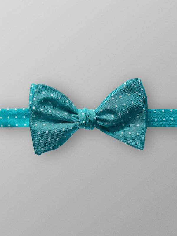 Green Dotted Silk Bow Tie