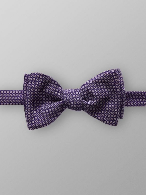 Purple Geometric Wool Bow Tie