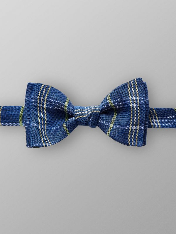 Blue Checked Silk Bowtie