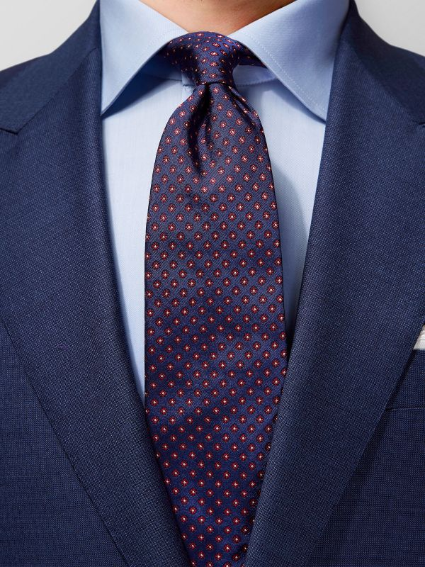 Red Woven Floral Silk Tie
