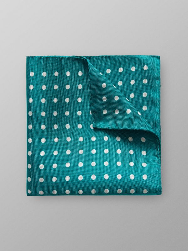 Green Dotted Silk Pocket Square