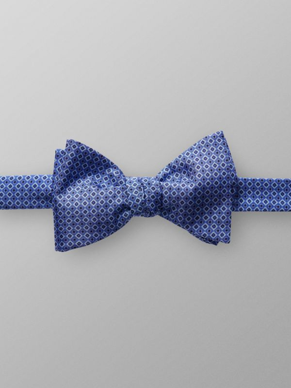 Blue Geometric Silk Bow Tie