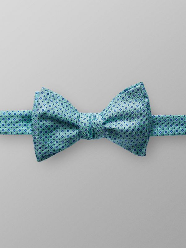 Green Geometric Silk Bowtie