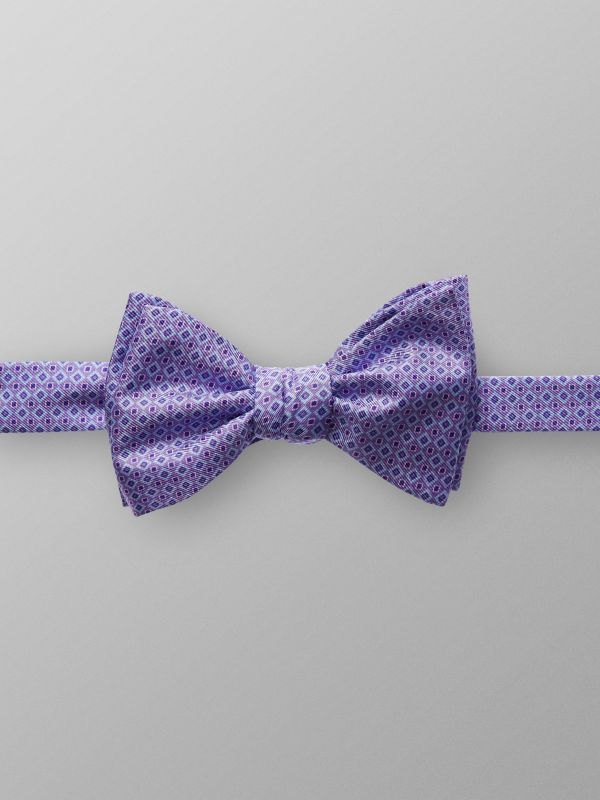 Purple Geometric Silk Bow Tie
