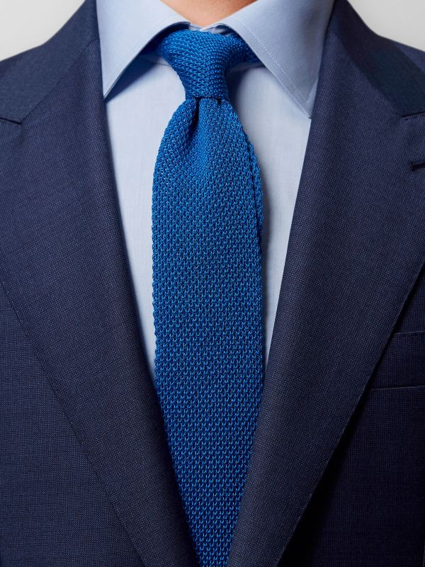 Blue Knit Cotton Tie