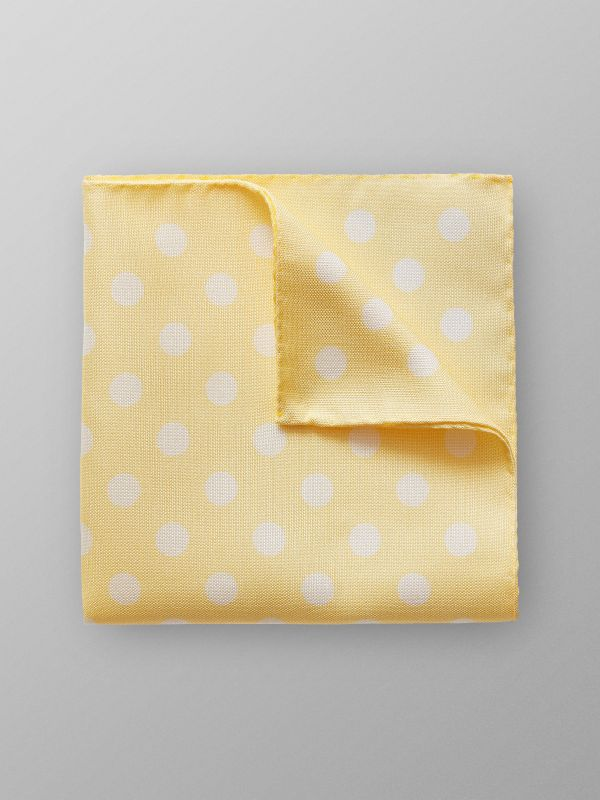 Yellow Dotted Linen & Silk Pocket Square