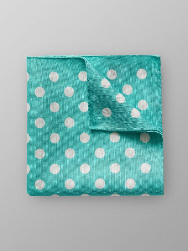 Green Dotted Linen & Silk Pocket Square